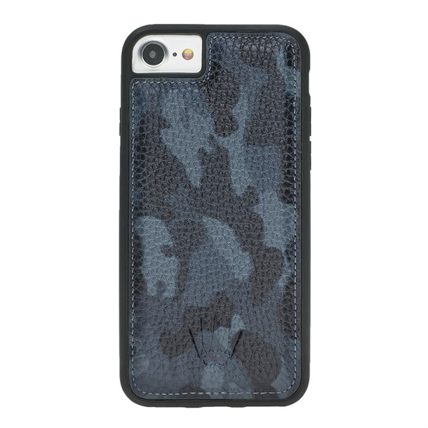 IPHONE 6-7-8  CAMOUFLAGE BLUE LEATHER CASE