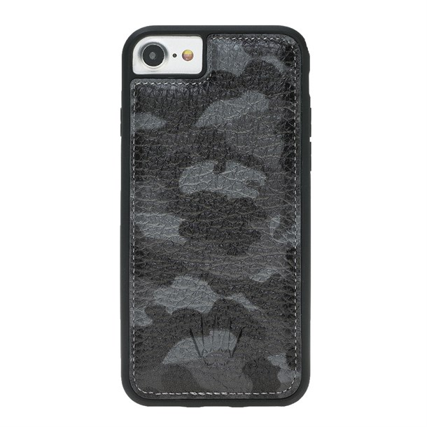 IPHONE 7-8  CAMOUFLAGE GREY LEATHER KILIF