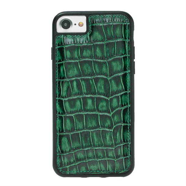 IPHONE 6-7-8 CROCO GREEN LEATHER CASE