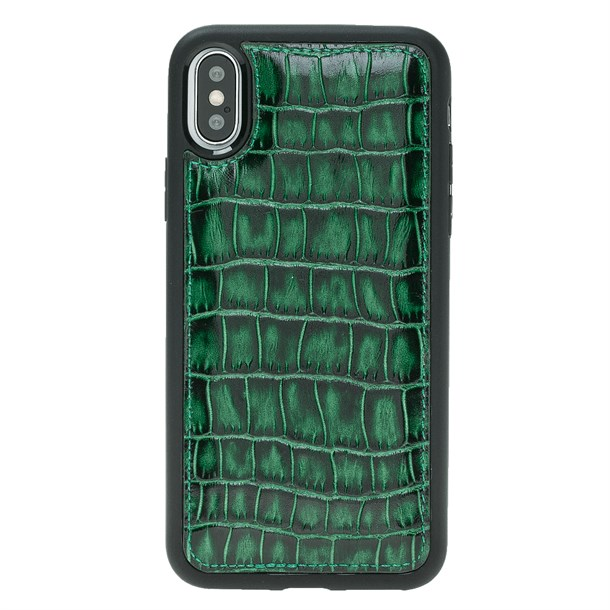 IPHONE X CROCO GREEN LEATHER CASE