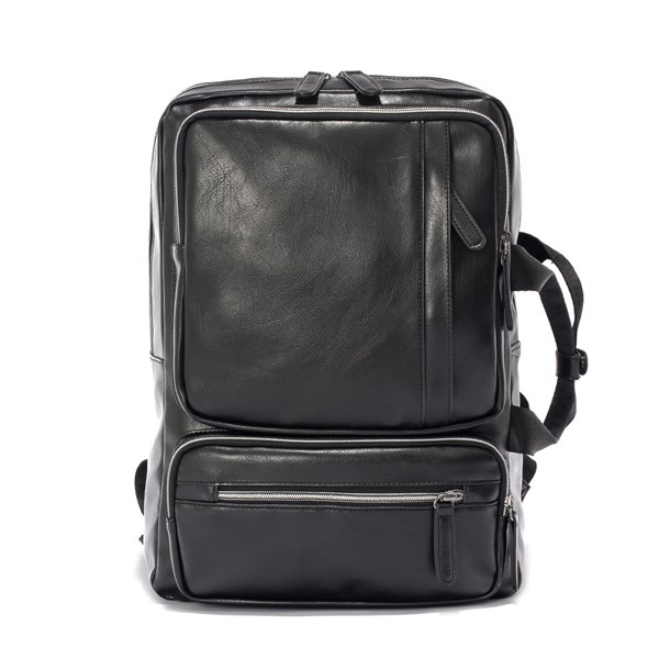 DUAL LEATHER BLACK BAG PACK