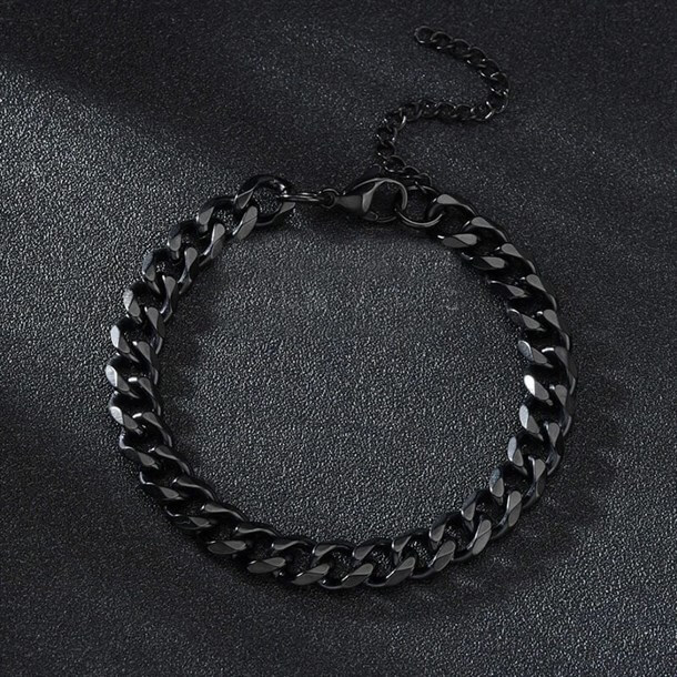CHAIN BANGLE BLACK 7mm BİLEKLİK