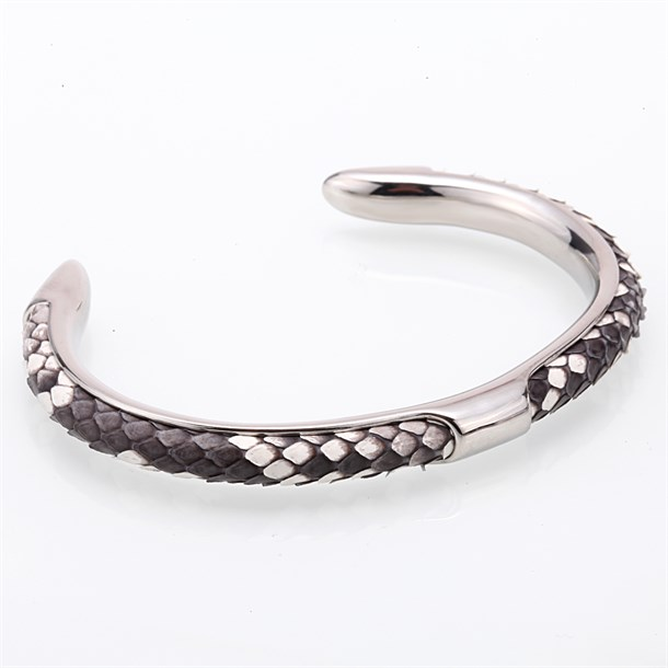NATURAL PYTHON CUFF WHITE GREY BRACELET