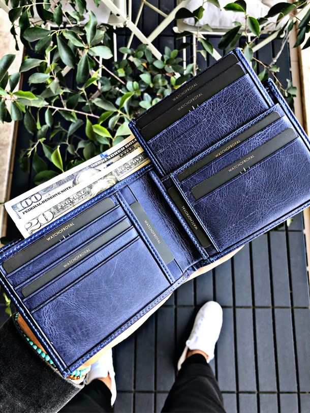 HARRY NAVY BLUE GENUINE LEATHER WALLET +CARD HOLDER