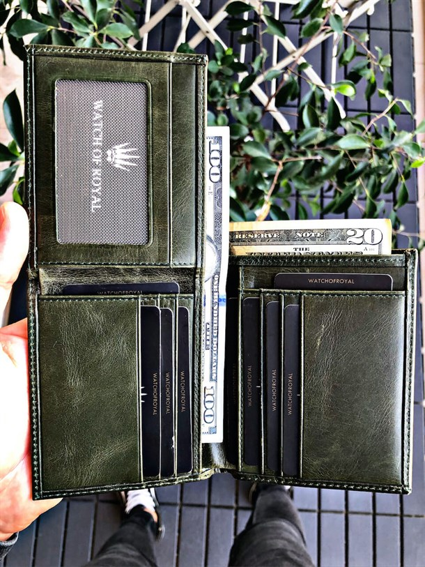 LEWIS GREEN GENUINE LEATHER WALLET