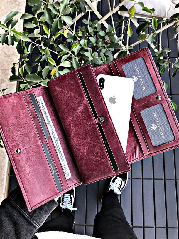 LOGAN CRAZY BORDO GENUINE LEATHER PHONE WALLET