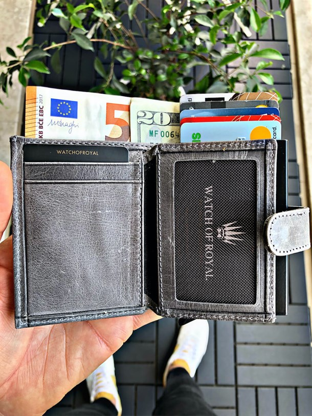 MECHANISM CARD ORDER CRAZY GREY GENUINE LEATHER