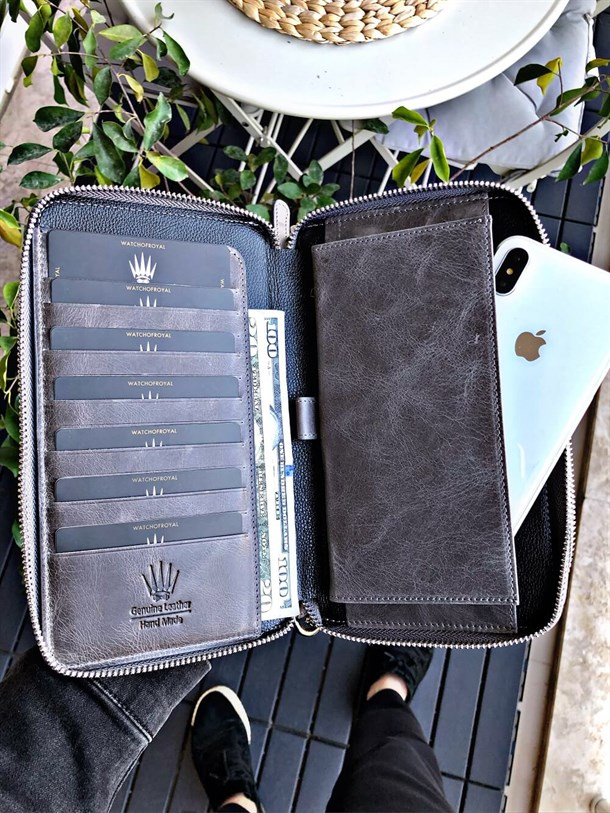 WIZARD CRAZY GREY GENUINE LEATHER PHONE WALLET & HANDBAG
