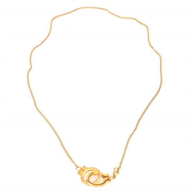 CLAMP CHAIN GOLD TITANIUM STELL NECKLACE