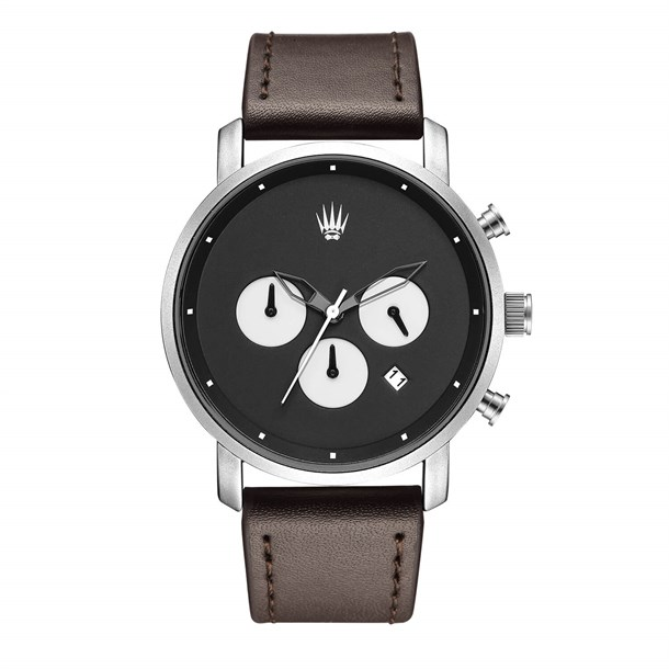 CHRONO SILVER BLACK LEATHER Watches
