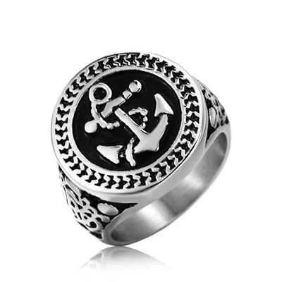 ROUND ANCHOR SILVER TITANIUM RING