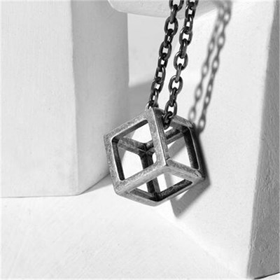CUBE TITANIUM RETRO SILVER NECKLACE