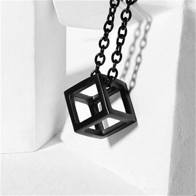 CUBE TITANIUM BLACK NECKLACE