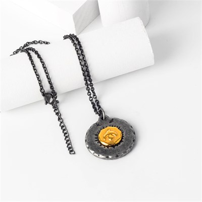 EAGLE ROUND BIG TITANIUM STELL NECKLACE