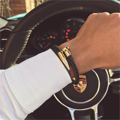 GOLD NAIL MAGNETIC KNITTING LEATHER BRACELET