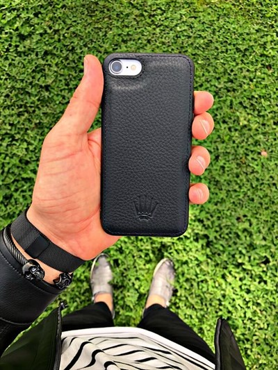 IPHONE 7-8  BLACK LEATHER KILIF