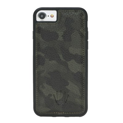 IPHONE 6-7-8  CAMOUFLAGE GREEN LEATHER CASE