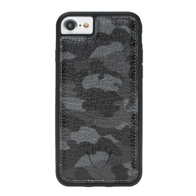 IPHONE 6-7-8  CAMOUFLAGE GREY LEATHER CASE