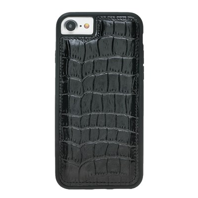 IPHONE 6-7-8  CROCO BLACK LEATHER KILIF