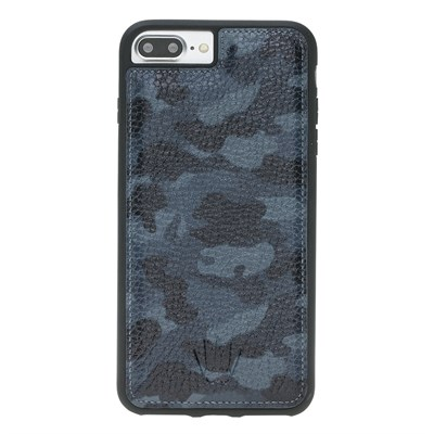 IPHONE 8 PLUS / 7 PLUS / 6 PLUS  CAMOUFLAGE BLUE LEATHER KILIF