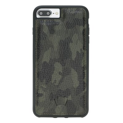 IPHONE 8 PLUS / 7 PLUS / 6 PLUS CAMOUFLAGE GREEN LEATHER KILIF