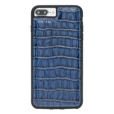 IPHONE 6PLUS/8 PLUS / 7 PLUS CROCO BLUE LEATHER CASE