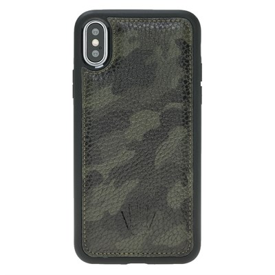 IPHONE X CAMOUFLAGE GREEN LEATHER CASE