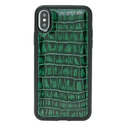 IPHONE X CROCO GREEN LEATHER KILIF