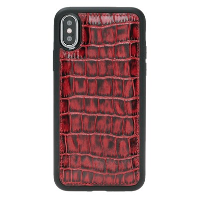 IPHONE X CROCO RED LEATHER CASE
