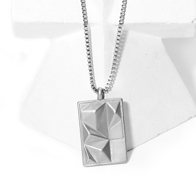 MOUNT OBLONG SILVER TITANIUM NECKLACE