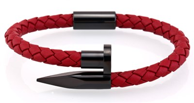 RED BLACK NAIL MAGNETIC KNITTING LEATHER BRACELET