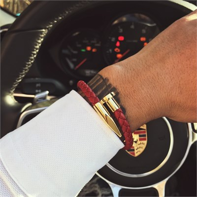 RED GOLD NAIL  MAGNETIC KNITTING LEATHER BRACELET