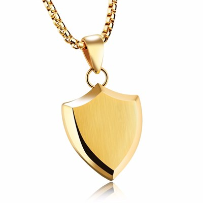 SAINT SHIELD GOLD CHAIN TITANIUM STELL NECKLACE
