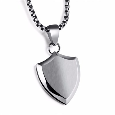 SAINT SHIELD SILVER TITANIUM NECKLACE
