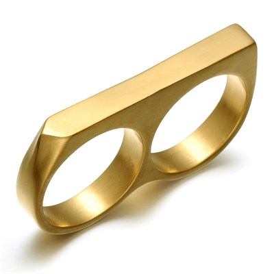 TWO FINGER GOLD TITANIUM RING