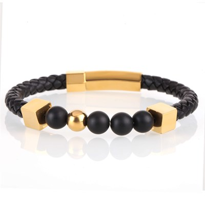 FRAME ROUND GOLD LEATHER BRACELET