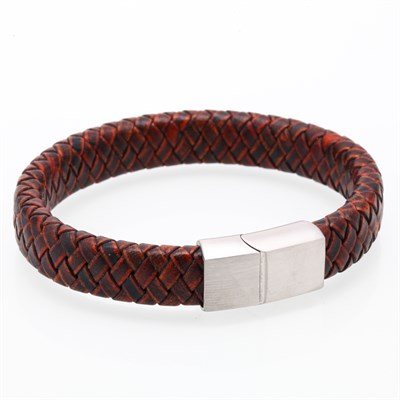 MAGIC DOUBLE KNITTING LEATHER RED BRACELET