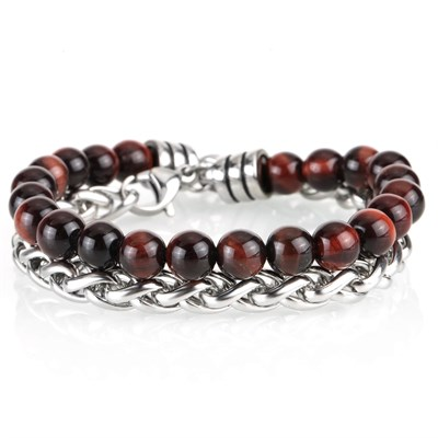 NEAR RED TIGER STONE CHAIN BRACELET