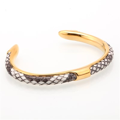 NATURAL PYTHON CUFF GOLD WHITE GREY BRACELET