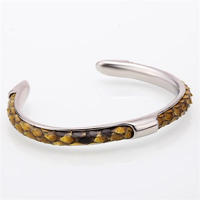 NATURAL PYTHON CUFF YELLOW BRACELET