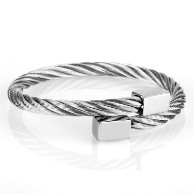 RECTANGLE SILVER TITANIUM STELL BRACELET