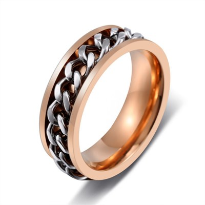 CHAIN RING ROSE GOLD SILVER TITANIUM YÜZÜK