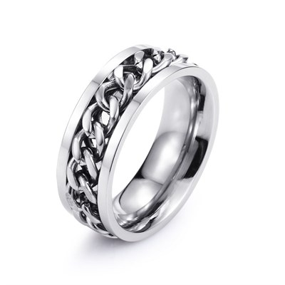 CHAIN RING SILVER TITANIUM RING