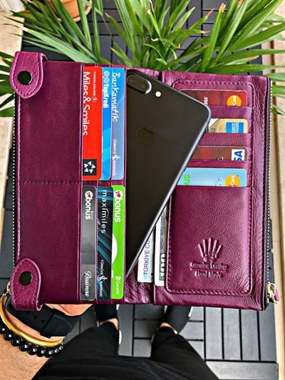 DUAL POCKET LIGHT BURGUNDY PHONE WALLET