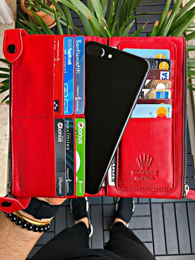 DUAL POCKET RED TELEFON CÜZDANI