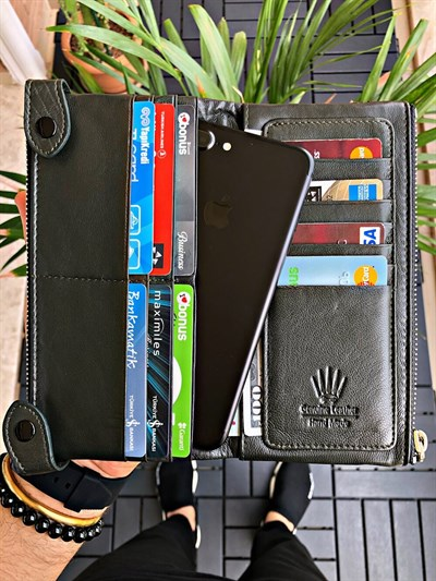 DUAL POCKET HAKI GREEN PHONE WALLET