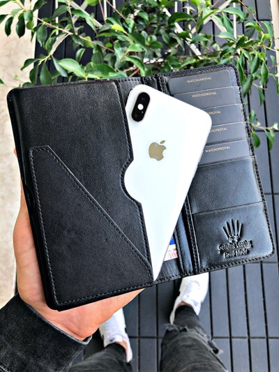 ELEGANT SAFFIANO BLACK PHONE WALLET