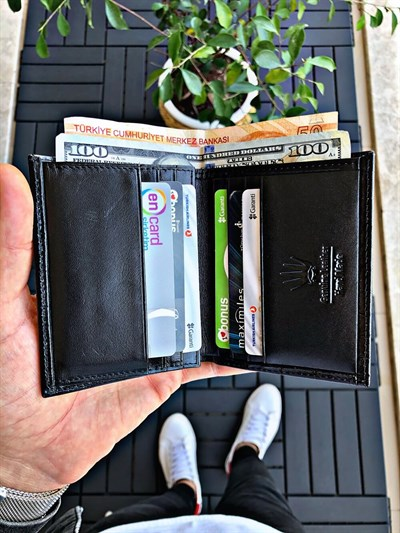 FOLDING CROCO BLACK WALLET