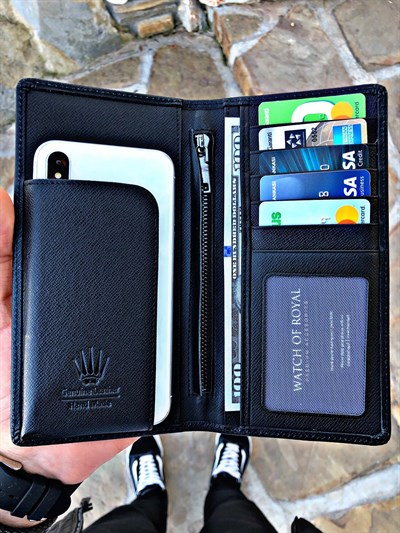 GREAT SAFFIANO BLACK TELEFON CÜZDANI