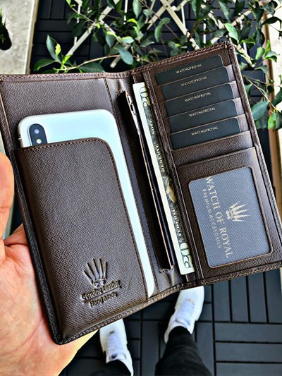 GREAT SAFFIANO BROWN PHONE WALLET